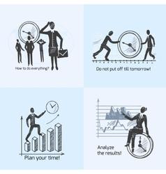 Time management composition sketch vector image