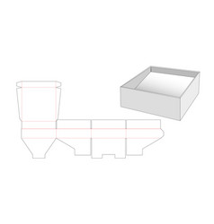 Tray with slope die cut template vector