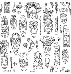 Tribal mask ethnic seamless pattern sketch for vector