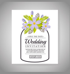 Vintage wedding invitation with floral elements vector