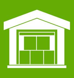 warehouse building icon green vector image