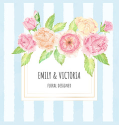 watercolor rose bouquet wreath with golden frame vector image