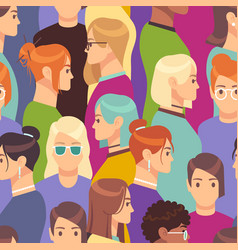 Woman seamless pattern female crowd from diverse vector