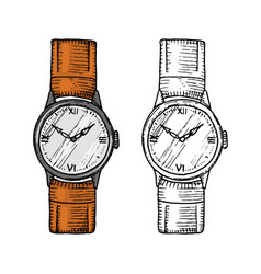 Wristwatch or wristlet watch classic man with vector