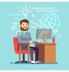 Young designer man working at computer vector image