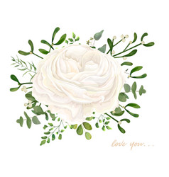 floral bouquet design white ranunculus flower vector image