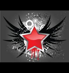 glossy star on grunge wings vector image vector image
