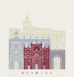 granada skyline poster vector image vector image