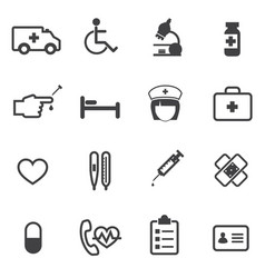 hospital and medical icons set vector image vector image