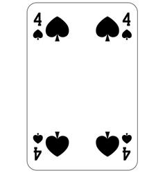 Poker playing card 4 spade vector image vector image