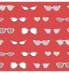 Seamless pattern women fashion sunglasses set vector