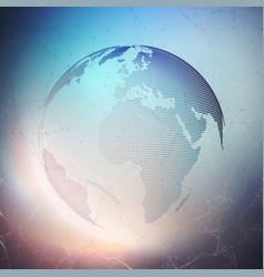 world globe on dark background global network vector image
