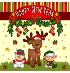 Christmas card with Santas helpers cute team vector image vector image