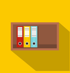 colorful office folders on wooden shelf icon vector image vector image