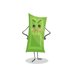 cute angry paper money humanized character money vector image