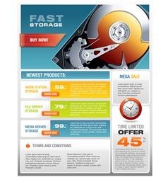 HD Hard Disk Sale Promotional Brochure vector image vector image