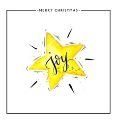 Joy text on watercolor yellow star isolated vector image