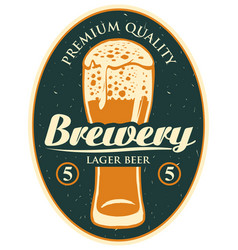 label or banner for the brewery with beer glass vector image