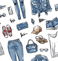 Lady fashion pattern including seamless vector image vector image