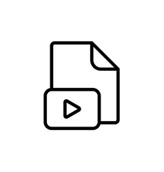 line video file play icon on white background vector image vector image