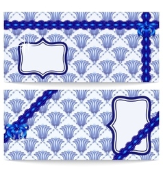 Set template greeting or gift cards with blue vector image vector image