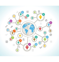 Social network flat design concept with world map vector