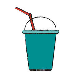 Soda in disposable cup icon image vector