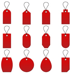 Collection of red price tag on white background vector image