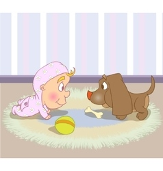 Cute Baby Character Crawls with dog vector image vector image