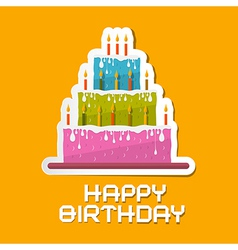 Orange Birthday Background with Cake vector image vector image