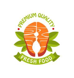 premium quality fresh food logo template badge vector image