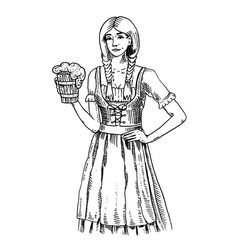 a woman in traditional belgian or bavarian clothes vector image