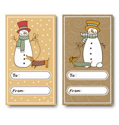 christmas greeting cards with a funny snowman vector image vector image