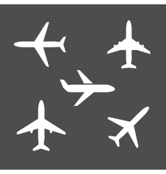 Five different airplane silhouette icons vector image