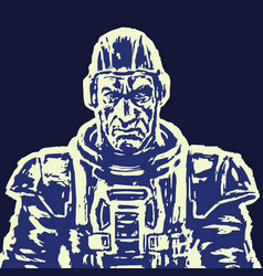 Old spaceman in a space suit without a helmet vector