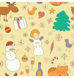Seamless Christmas pattern with snowman snowflakes vector image vector image