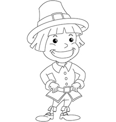 Settler Boy For Thanksgiving Coloring Page vector image