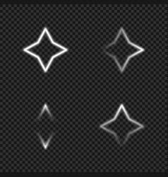 White glowing star shapes collection vector
