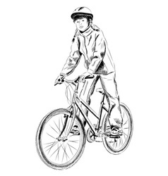 young girl on the bicycle vector image vector image