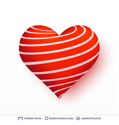 3d heart with pattern of red and white stripes vector image