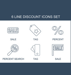 6 discount icons vector image