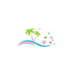 Abstract beach palm tree love logo vector
