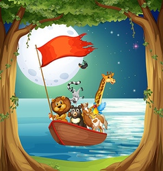 Animals and boat vector