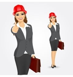 Architect business woman with briefcase vector