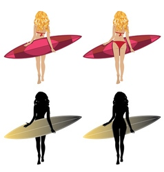 Back View of a Surfer Girl vector image