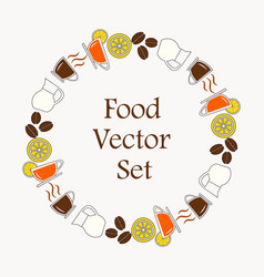 background a set drinks for breakfast menu vector image