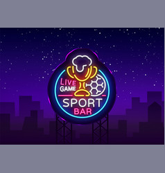 Bar bar logo in neon style football fan club vector