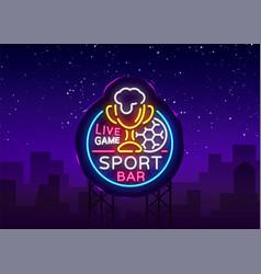 bar logo in neon style football fan club vector image