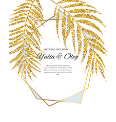 Beautifil wedding invitation with palm tree leaf vector