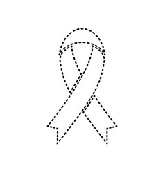black awareness ribbon sign black dashed vector image